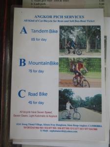 Preços do aluguel de bicicletas no nosso hotel