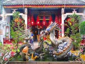 Escultura de dragão na Congregação Cantonesa