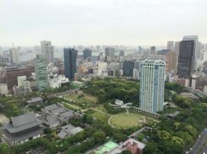 Vista da Torre de Tóquio. O templo Zojo-ji está no canto à esquerda